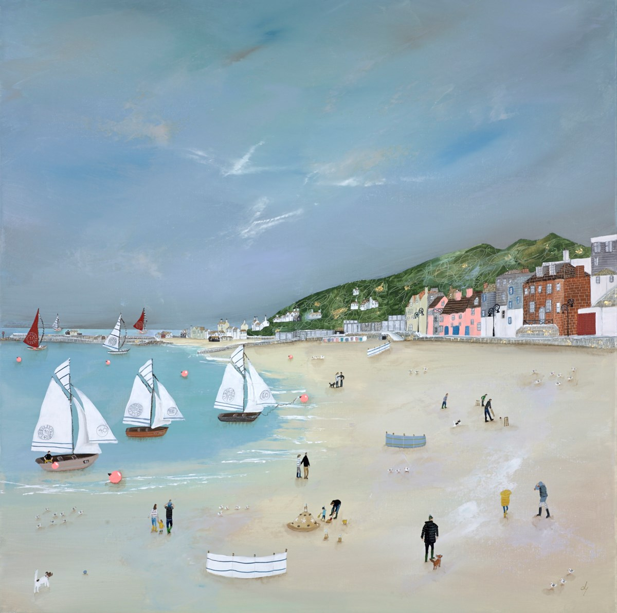 Yachts of Fun by lucy young -  sized 32x32 inches. Available from Whitewall Galleries